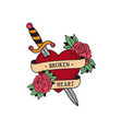 old school tattoo emblem label with dagger rose vector image vector image