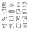 paper scrolls icon set document education symbol vector image