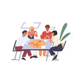 people eating pizza at desk during collective vector image vector image
