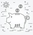 Piggy bank think line icon vector image vector image