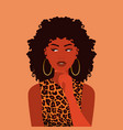 pretty brunette confused black afro thinking woman vector image