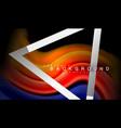 rainbow fluid colors wave and metallic geometric vector image vector image