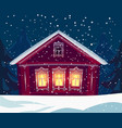 russian wooden village house in winter snowfall vector image vector image