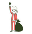 santa claus caricature full body holding a hand vector image