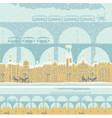 seamless ornament with old winter town and bridges vector image vector image