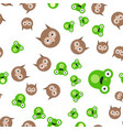 seamless pattern of the head of a frog and owl vector image vector image