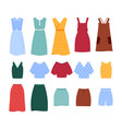 set cute colorful female casual summer clothes vector image