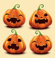 Set of cute realistic pumpkins with different