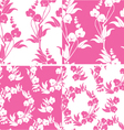 Set of Seamless pattern with orchids silhouette vector image vector image