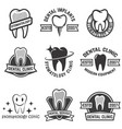 set of stomatology labels isolated on white vector image vector image