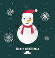 snowman in christmas dayorigami made paper art vector image vector image