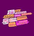 trendy feminist women power quote set vector image