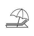 umbrella with sunbed icons vector image vector image