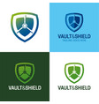 vault and shield logo icon vector image