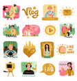 video bloggers icons set vector image vector image