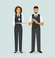 waitress in uniform and barman standing together vector image vector image