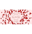 Wedding banner over scattered red and pink hearts vector image vector image