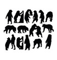 wild bear silhouettes vector image vector image