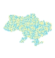 yellow and blue ukrainian map from points vector image vector image