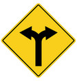 yellow sign with two arrows fork road yellow vector image