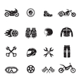 Motorcycle icons black set with transportation vector image