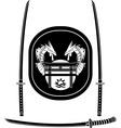 fantasy asian shield and swords vector image
