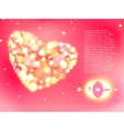 Valentine s day card with bokeh lights vector image