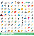100 work icons set isometric 3d style vector image vector image
