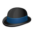 a stylish black bowler hat with blue ribbon vector image