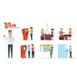 bank finance clients people working in office vector image