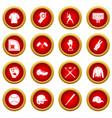baseball icon red circle set vector image vector image