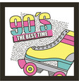 best time 90s roller skate abstract background vector image vector image