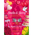 bride and groom names wedding holiday invitation vector image vector image