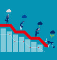 business on falling down chart concept business vector image vector image