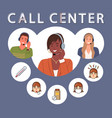 call center service work characters provide vector image
