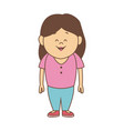 cartoon little girl smile standing character vector image vector image