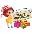 Christmas theme with woman and christmas presents vector image