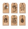 Christmas vintage gift tags set hand drawn vector image vector image