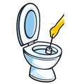 cleaning a toilet bowl with brush vector image