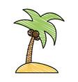 color crayon stripe image island tropical palm vector image vector image