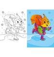 Coloring Book Of Cute Cartoon Squirrel Skates vector image vector image