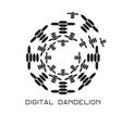 concept digital dandelion logo vector image vector image