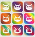 drum icon Nine buttons with bright gradients for vector image vector image