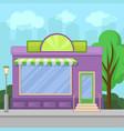 facade of shop building with showcase window city vector image vector image