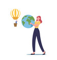 female character holding earth globe in hands man vector image