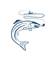 fisherman in a boat and trout vector image vector image