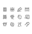 Flat line sports equipment icons vector image vector image