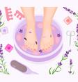 foot bath pedicure flat vector image
