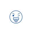 funny emoji line icon concept funny emoji flat vector image vector image