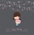 girl with birthday cupcake blackboard background vector image vector image